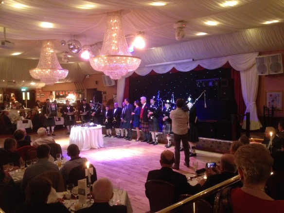 Piping the Haggis, Burns Night at Harvey's Point, Donegal Town 2015