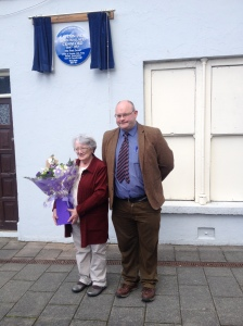 Maura Harkin and Ray Lannon at the unveiling of the Crawford plaque in the Diamond, Carndonagh.